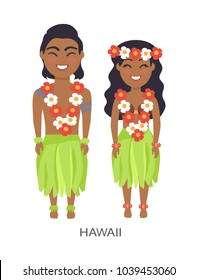 Hawaii male and female image, dressed in flowers and lei, leaves and coconut shell, represented on vector illustration isolated on white