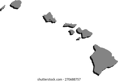 Hawaii State Map Black On White Stock Vector Royalty Free