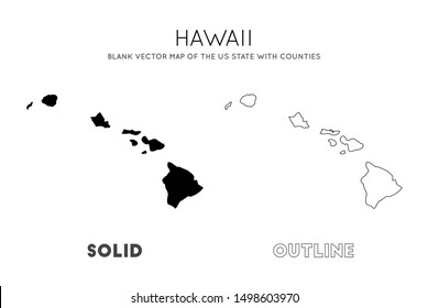 Hawaii map. Blank vector map of the Us State with counties. Borders of Hawaii for your infographic. Vector illustration.
