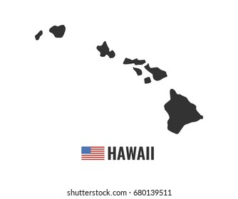 Hawaii map isolated on white background silhouette. Hawaii USA state. American flag. Vector illustration.