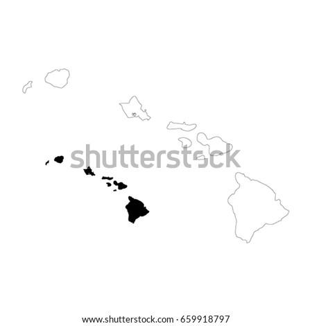 Hawaii Map Vector Illustration Stock Vector Royalty Free 659918797