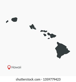 Hawaii Map Vector Template Isolated
