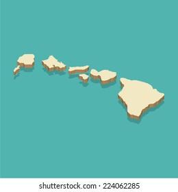 Hawaii Map Vector three dimensional