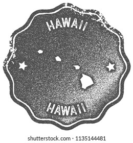 Hawaii map vintage grey stamp. Retro style handmade us state label, badge or element for travel souvenirs. Vector illustration.