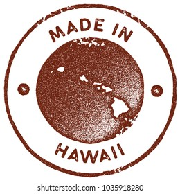 Hawaii map vintage red stamp. Retro style handmade island label, badge or element for travel souvenirs. Vector illustration.