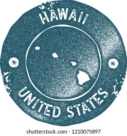 Hawaii map vintage stamp. Retro style handmade label, badge or element for travel souvenirs. Blue rubber stamp with us state map silhouette. Vector illustration.