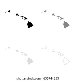 Hawaii Map Isolated On Transparent Background Stock Vector Royalty