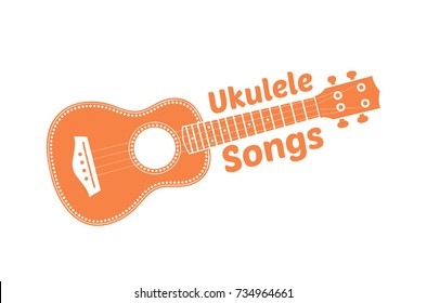 Hawaii national musical instrument. Modern orange ukulele on white background, vector illustration.