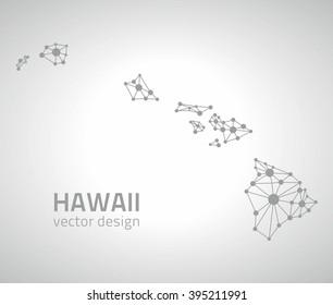 Hawaii outline USA vector map