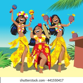 Hawaii party. Three young hula girls dancing on the beach with a cocktail. Vector illustration
