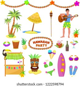 Hawaii party vector woman or man characterr on hawaiian beach with tropical palm and exotic fruity cocktails on summer vacation illustration set of mask and surf isolated on white background