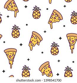 Hawaii pineapple pizza seamless pattern cute kawaii