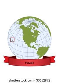 Hawaii, position on the globe