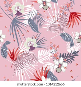 Hawaii print vector seamless beautiful artistic Bright summer tropical pattern with exotic forest. Colorful original stylish floral mix with leaves  background , on lilac purple colors