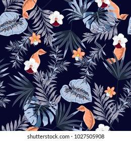 Hawaii print vector seamless beautiful artistic Bright summer tropical pattern with exotic forest. Colorful original stylish floral mix with leaves  background , on dark navy blue