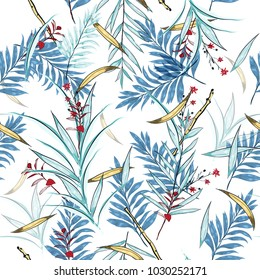Hawaii print vector seamless beautiful artistic Bright summer tropical pattern with exotic forest. Colorful original stylish floral mix with leaves  background , on white