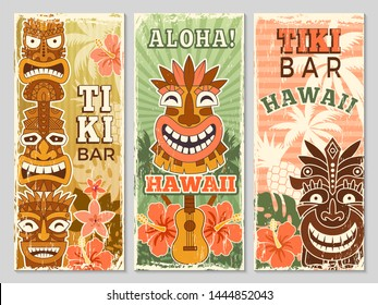Hawaii retro banners. Aloha tourism summer adventure dancing party in tiki bar tribal masks vector illustration. Aloha hawaii, tribal tiki bar, exotic hawaiian adventure