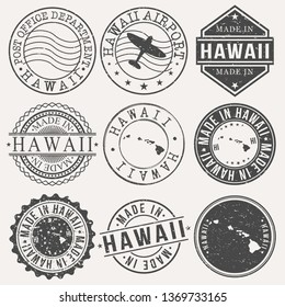Hawaii Set of Stamps. Travel Stamp. Made In Product. Design Seals Old Style Insignia.