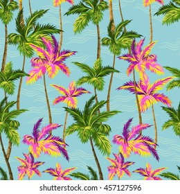 hawaii shirt palm trees pattern. Vector seamless design with beautiful tropical palms with sea and waves background