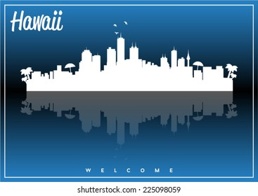 Hawaii, skyline silhouette vector design on parliament blue and black background.