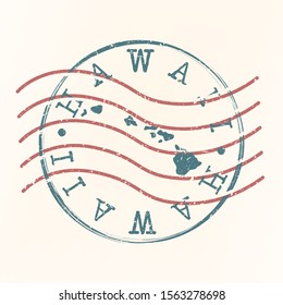 Hawaii Stamp Postal. Map Silhouette Seal. Passport Round Design. Vector Icon. Design Retro Travel.