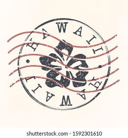 Hawaii Stamp Postal. Silhouette Seal. Passport Round Design. Vector Icon. Design Retro Travel. National Symbol.
