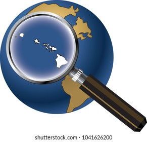 Hawaii State Map Enlarged with Magnifying Glass on Globe