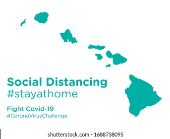 Hawaii state map with Social Distancing stayathome tag