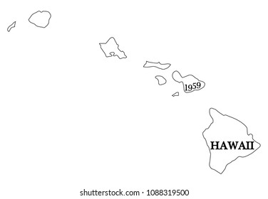 A Hawaii state outline and date of statehood isolated on a white background