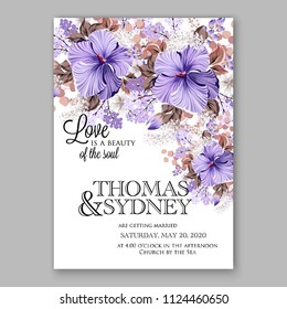 Hawaii summer tropical wedding invitation blue hibiscus white lilac floral watercolor aloha