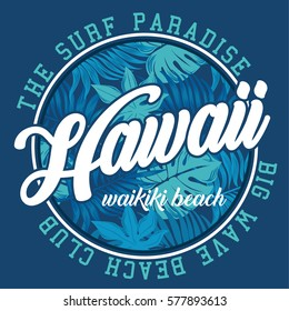 hawaii surf beach typography, t-shirt graphics, vectors