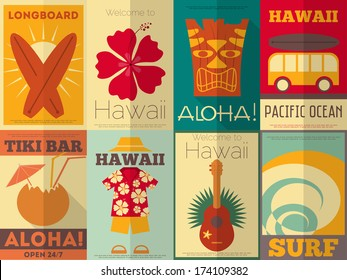 Hawaii Surf Retro Posters Collection in Flat Design Style. Vector Illustration.