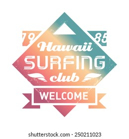 Hawaii Surfing club vintage label with waves. Surf vintage Vector logo.