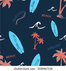 Hawaii Surfing Seamless Pattern, typography, vectors. Navy background