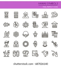 Hawaii Symbols , Thin Line and Pixel Perfect Icons