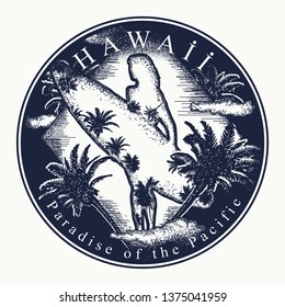 Hawaii. Tattoo and t-shirt design. Welcome to state of Hawaii, (USA). Paradise of the Pacific slogan. Travel art concept