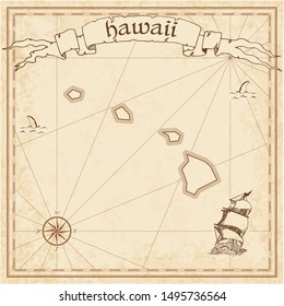 Hawaii treasure map. Ancient style map template. Old us state borders. Vector illustration.
