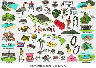 Hawaii & Tropical Island Clipart Set - Hawaiian Flowers, Beaches, Plants, Nature, Food, and Animals