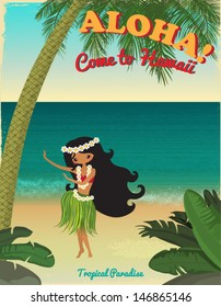 Hawaii, Tropical Paradise Poster, with hula dancer, tropical plants, palm tree and sandy beach