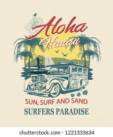 Hawaii typography for t-shirt print with sun,beach and retro Woody Car.Vintage poster.