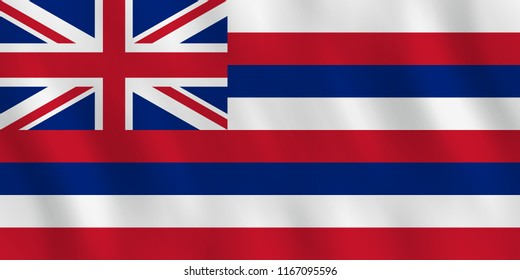 Hawaii US state flag with waving effect, official proportion.