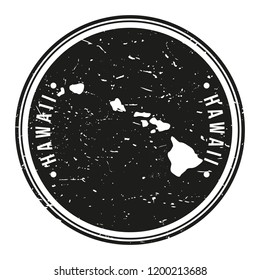 Hawaii USA Map Symbol Round Design Stamp Travel and Business