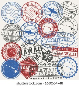 Hawaii, USA Set of Stamps. Travel Passport Stamps. Made In Product. Design Seals in Old Style Insignia. Icon Clip Art Vector Collection.