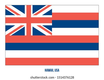 Hawaii (USA State) Flag Vector Illustration on White Background. Flag of the United States of America.