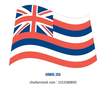 Hawaii (USA State) Flag Waving Vector Illustration on White Background. Flag of the United States of America.