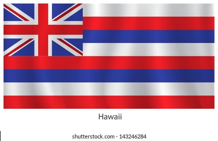 Hawaii vector flag with title