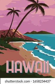 Hawaii Vector Illustration Background. Travel to Hawaii in State of United States of America Located in Pacific Ocean. Flat Cartoon Vector Illustration in Colored Style.