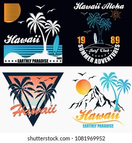 Hawaii - vector illustration in vintage graphic style for t-shirt and other print production. Palms, wave and sun creative logo badge. Summer vacation concept. Design elements.