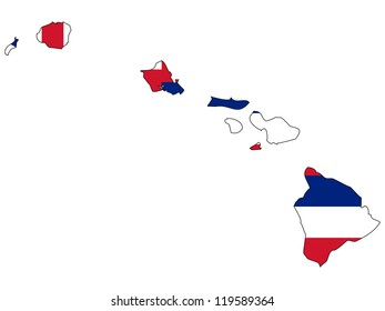 Hawaii vector map with the flag inside.