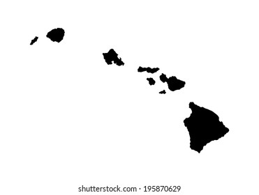 Hawaii Vector Map High Detailed Silhouette Illustration Isolated On White Background
